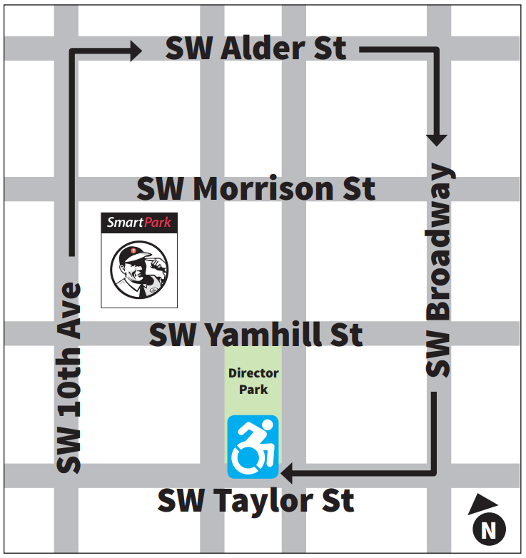 To access the temporary wheelchair-ready spaces, turn East onto Southwest Alder Street, South on Southwest Broadway, and then West onto Southwest Taylor Street. The spaces are adjacent to Director Park.